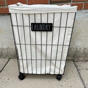 Rae Dunn Large LAUNDRY Basket With Wheels